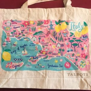 Talbots Large 🇮🇹 Italy Canvas Tote bag